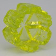 Vintage Vaseline Glass Notched Feather & Star Open Salt Dip UV Reactive image 2