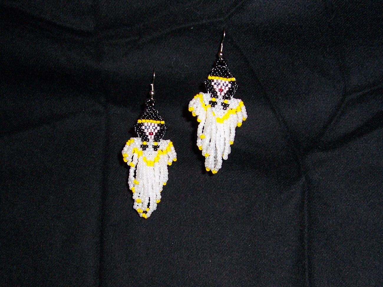 New Handmade Indian Maiden Angel Dangle Seed Bead Earrings