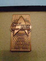 "Star Trek The Next Generation Bronze Commemorative Pin ""ALL GOOD THINGS""... - $10.00"