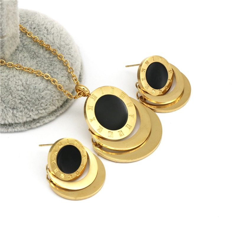 Famous Brand Roman Numberal Jewelry Set Stainless Steel dubai earring necklace S