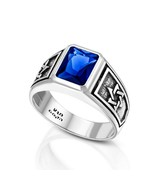 Sterling Silver and Royal Blue Zircon, Men's Star of David College Ring  - $120.00