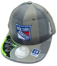 New York Rangers NHL Reebok Gray Plaid Flat Visor Hat Cap FlexFit Fitted... - €15,08 EUR