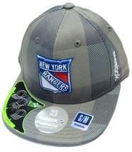 New York Rangers NHL Reebok Gray Plaid Flat Visor Hat Cap FlexFit Fitted... - $326,50 MXN