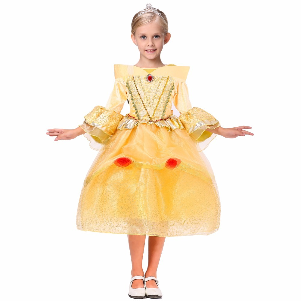 New beauty and beast cosplay dresses for girls belle princess kids girls costume dress christmas