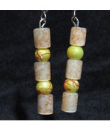 Oriental Marble Earrings Yellow Peach Red Stacked - $10.00