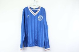 Vintage 80s Umbro Mens Large Spell Out Striped Long Sleeve Soccer Jersey... - $29.65