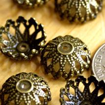 40 Stamping Filigree Bead Caps Antique-Bronze bc21b - $5.03