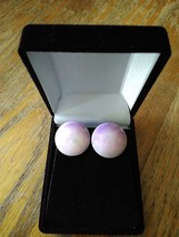 Vintage Purple Plastic Tie Dye Button 90s Earrings - $9.99