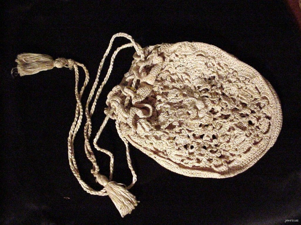 Beautiful early 1900's Crocheted Drawstring Beige Purse image 1