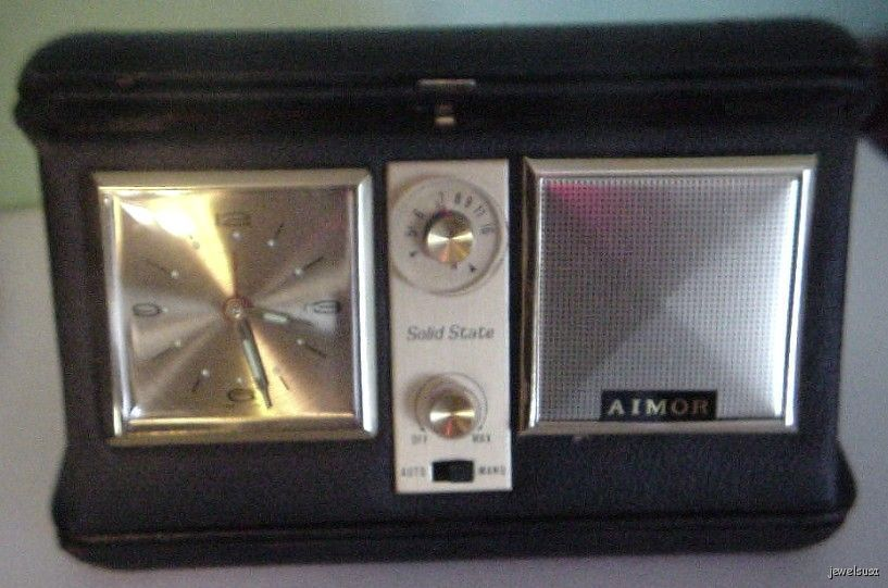 Vintage AIMOR Travel Clock & Radio Leather Case made in Japan