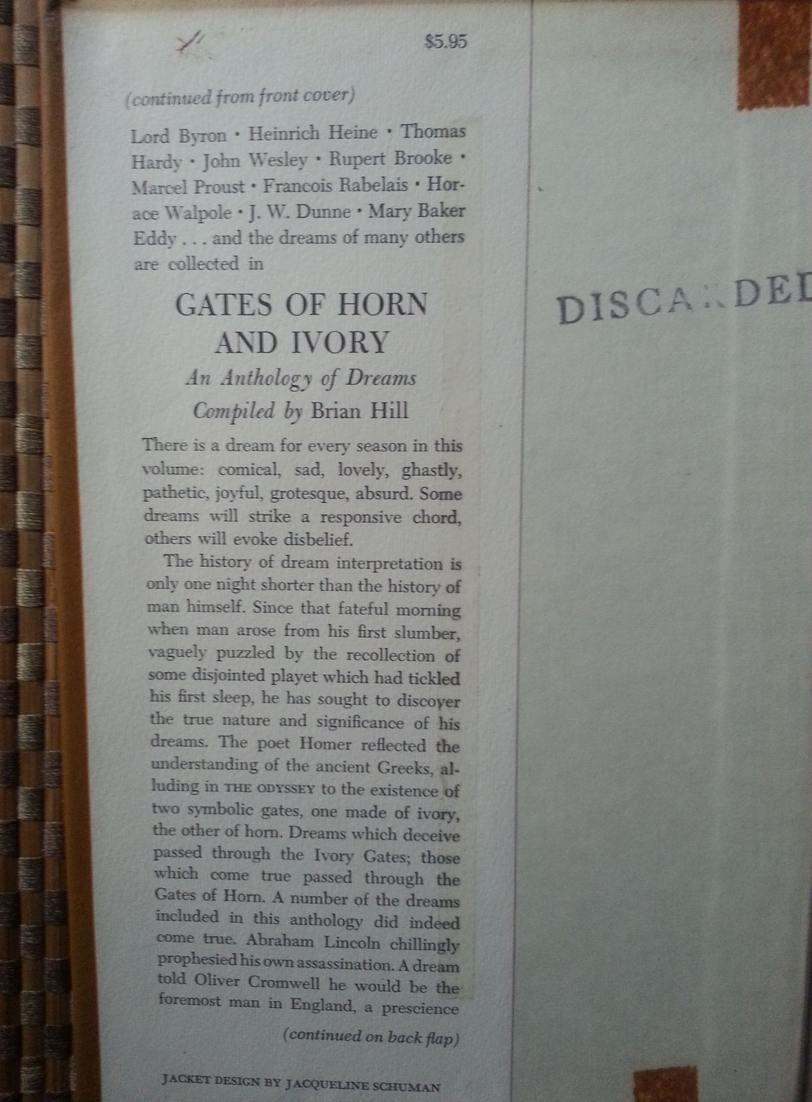 Gates of Horn and Ivory  by Brian Hill 1968 HBDJ  Dreams