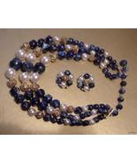LISNER Vintage Blue, Gold & Faux Pearl Beads Ne... - $45.54