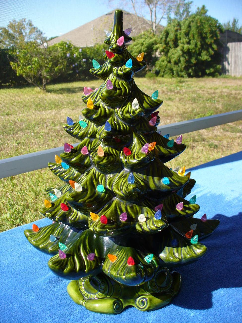 Vintage Green Ceramic Christmas Tree Multi-Color Lights ...