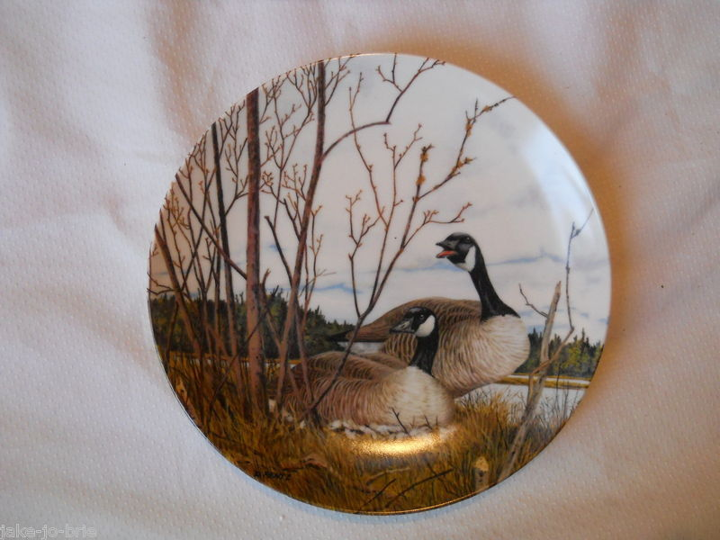 Primary image for Nesting Canadian Geese Wings Upon The Wind Bradex Plate Donald Pentz China NEW