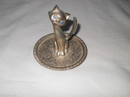 Pewter Blue Stone Eyed Cat Ring Jewelry Tail Holder Swirl Design Whimisc... - $24.45