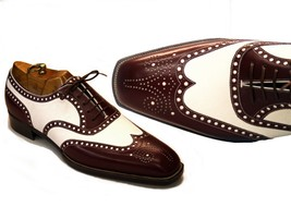 Handmade Men's Brown & White Wing Tip Heart Medallion Oxford Leather Shoes image 5