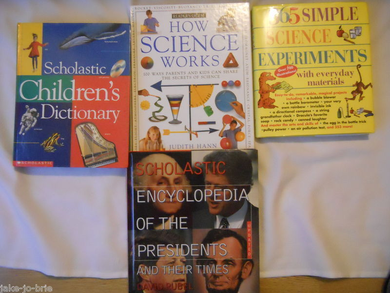 Primary image for Set of 4 Science Experiments Encyclopedia Presidents Scholastic Dictionary Books