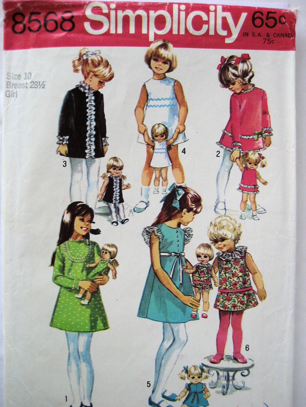 Primary image for Simplicity 8568 Vintage 60s Pattern Girls size 10 matching Doll Dress