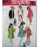 Simplicity 8568 Vintage 60s Pattern Girls size 10 matching Doll Dress  - $9.95