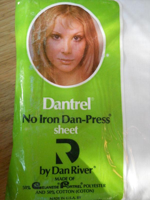 Vintage Dantrel No Iron Dan Press Double Flat Sheet White Celanese Fortrel NEW - $19.51