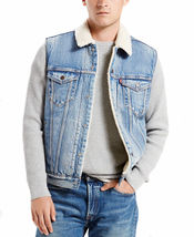 New Levi's Men's Premium Button Up Sherpa Fleece Lined Multi Pocket Denim Vest image 4