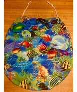 Tropical Blue Ocean Fish Fabric Toilet Season Lid Cover Handmade In The USA - $10.88