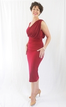 Red Hollywood Dress with Wrap Detailing, Formal Red Party Dress, Red Wrap Dress image 4
