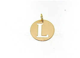 18K YELLOW GOLD LUSTER ROUND MEDAL WITH LETTER L MADE IN ITALY DIAMETER 0.5 IN image 1