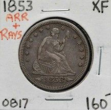 1853 A&R United States Seated Liberty Quarter Dollar 25¢ Coin Lot A 585 image 1