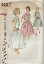 Vintage Sewing Pattern Simplicity 4427 Misses One Piece Dress 1960s Size 10 - $8.90