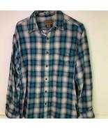 St. Johns Bay Mens Oxford Shirt Blue Plaid Long Sleeve 100% Cotton Pocket L - £8.74 GBP