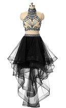 2 Pieces Beaded Keyhole Back Homecoming Dresses Halter Beading Prom Gown... - $133.00