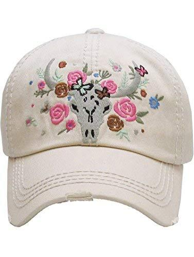 scarlettsbags Distressed Country Western Cowgirl Longhorn Flowers Hat (Beige)