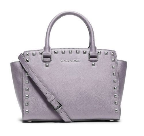 de1d5ec26b86 MICHAEL KORS LILAC PURPLE SELMA STUD LEATHER SATCHEL BAG PURSE CROSSBODY  *NWT* - $216.60