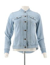 Denim & Co Comfy Knit Button Jean Jacket Rib Trim Bleach Wash M NEW A303110 - $33.64