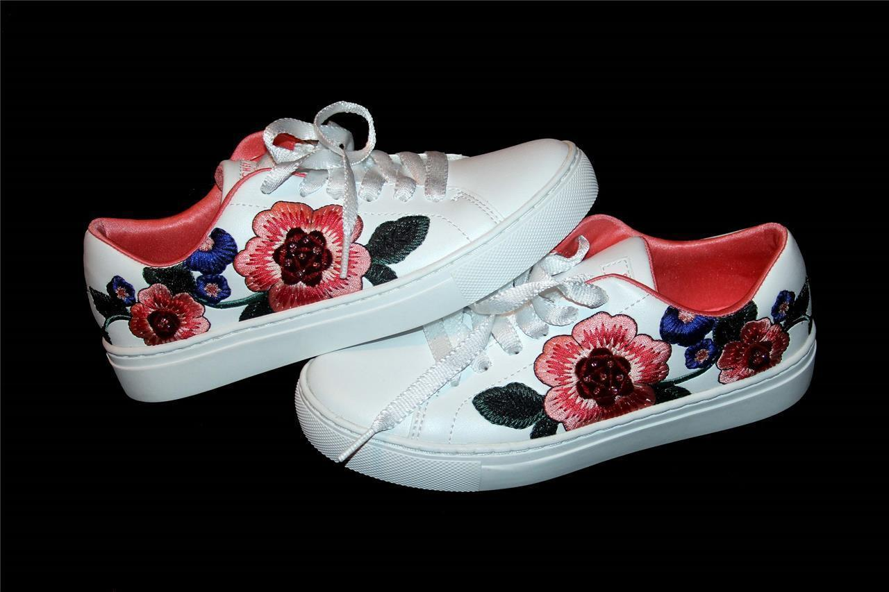 Skechers LIL FLOR Embroidered Bright Flowers White Sneakers Big Kid 4 NWT DISC