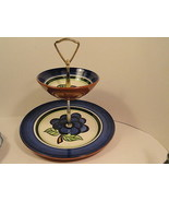 Vintage Stangl Pottery GRAPE 2 Tiered Chip 'n Dip Mint Dinnerware - $39.95