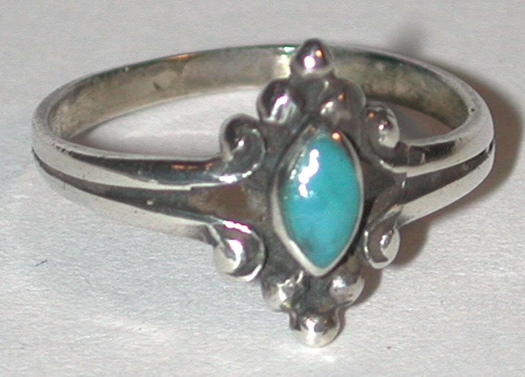 Primary image for vintage pinky size 4 Sterling Silver blue Turquoise stone