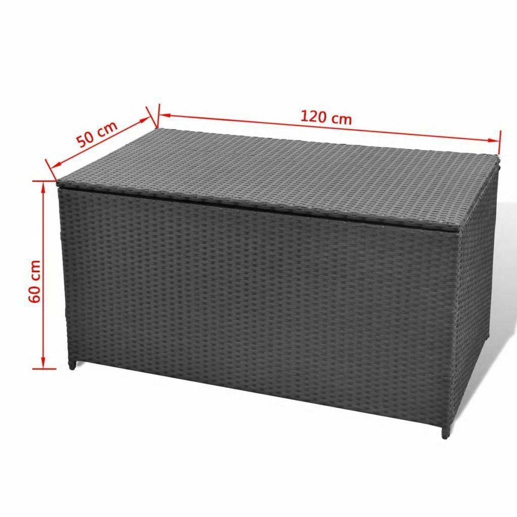 vidaXL Garden Storage Chest Poly Rattan Black Outdoor Bench Cabinet Organizer image 5