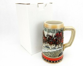 1988  Anheuser Busch  AB  Budweiser Bud Holiday Christmas Beer Stein Cly... - $17.59