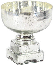 Deco 79 24708 Glam Glass Decorative Pedestal Bowl, 10' W X 11' H, Silver - $66.70