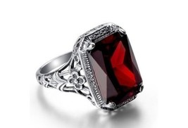 Exquisite NEW 5.5 Carat Ruby Red Zircon Ring~Sterling Silver~Size 7~W/Gi... - $39.99