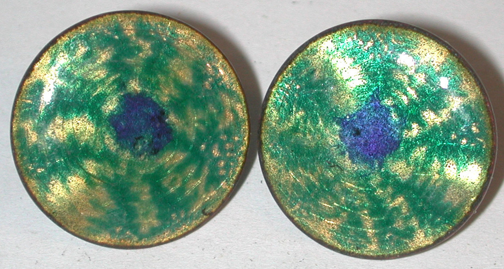 Primary image for Enamel Copper screwback Earrings Vintage peacock eye