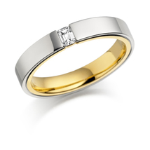Beautiful White Diamond Emerald Cut Wedding Band Two Tone In Solid 925 Silver  - $189.99