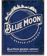 New Blue Moon - Skyline Logo Retro Decorative Metal Tin Sign - $9.41
