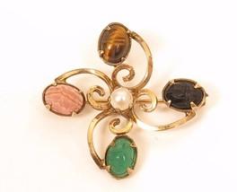 Vintage D'Abors Egyptian Revival Genuine Gem Scarab Beetles Gold Filled ... - $37.57