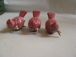 "3 Red Cardinal Clip On Ornaments foam glitter 2-1/2"" - $8.90"