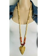 Beaded Red Agate Wooden Arrowhead BOHO Necklace - $27.72