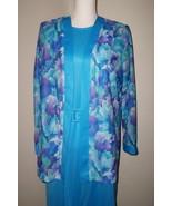 Blair Boutique Ladies 2 Pc Belted Dress with Jacket Size 16 Blue & Purple - $14.99