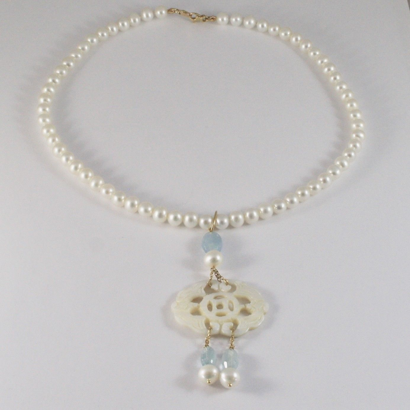NECKLACE YELLOW GOLD 18KT WITH WHITE PEARLS NACRE PERFORATED AQUAMARINE